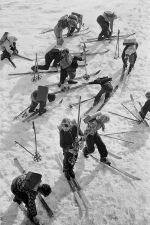 Children in the Austrian Enns-Valley ski to school.-Erich Lessing-Framed Photographic Print