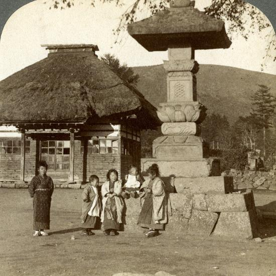 Children in the Playground of a Village School, Japan, 1904-Underwood & Underwood-Photographic Print