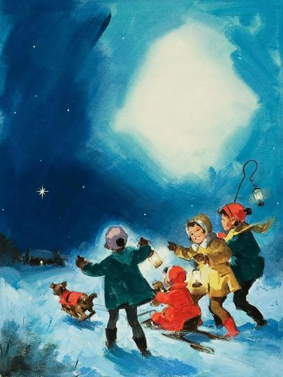 Children in the Snow--Giclee Print