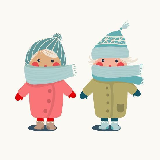 Children in Winter Cloth. Winter Kids Outfit Childish Illustration. Raster Variant.-Popmarleo-Premium Giclee Print