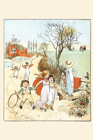 Children Jumped Ropes and Played with Hoops Along a Road-Randolph Caldecott-Art Print
