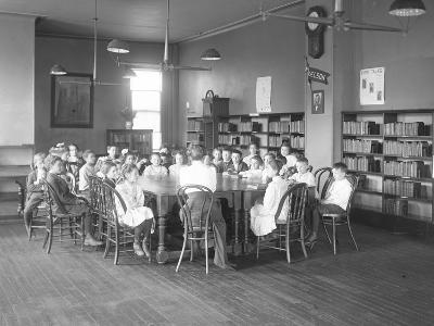 Children Listen to a Woman in the Reading Room-William Davis Hassler-Photographic Print