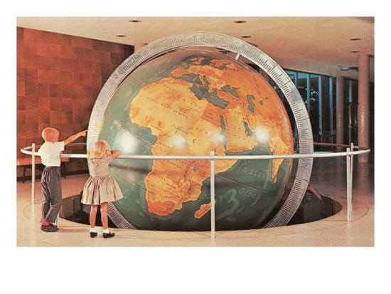 Children Looking at Giant Globe--Art Print