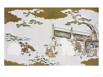 Children Making a Snow Shishi and Rolling a Snowball-Kitagawa Utamaro-Giclee Print