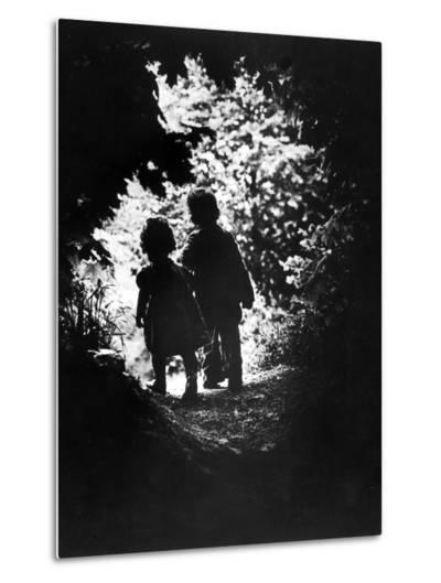 Children of Photographer with Eugene Smith Walking Hand in Hand in Woods Behind His Home-W^ Eugene Smith-Metal Print