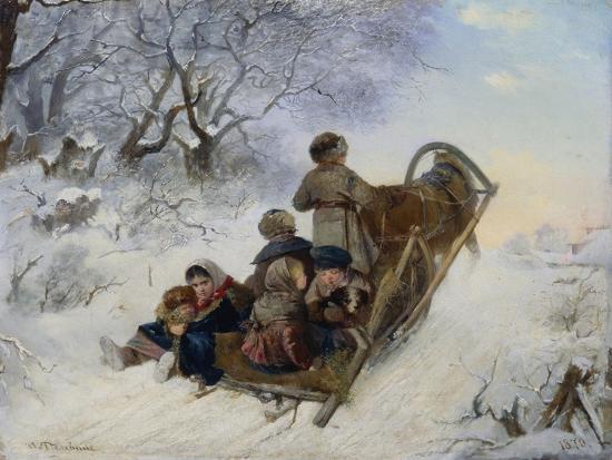 Children on a Horse Drawn Sleigh, 1870-Ivan Andreyevich Pelevin-Giclee Print