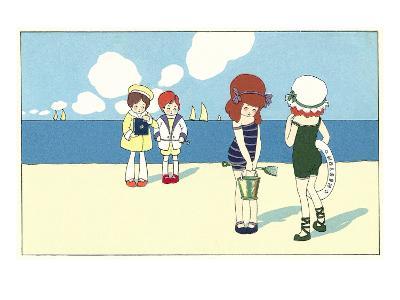 Children on Beach Cartoon--Art Print