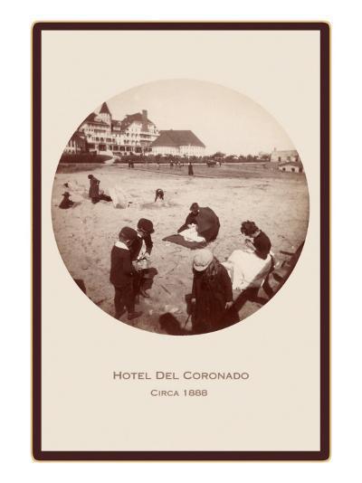 Children on Beach, Hotel del Coronado, San Diego, California--Art Print