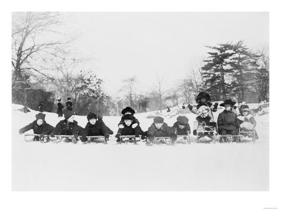 Children on Sleds in Central Park Photograph No.1 - New York, NY-Lantern Press-Art Print