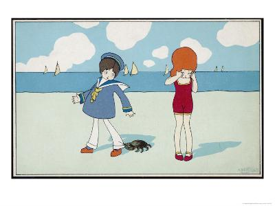 Children on the Beach, a Boy in a Sailor Suit Has His Trousers Bitten by a Crab-A. Bertiglia-Giclee Print