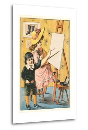 Children Painting at Easel