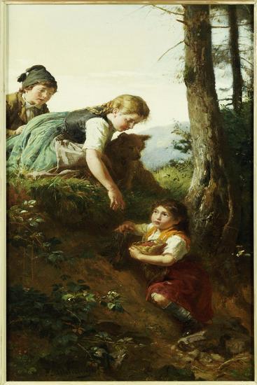 Children Picking Berries-Felix Schlesinger-Giclee Print