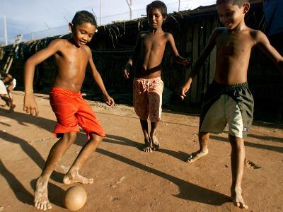 Children Play Soccer at a Shelter in the City Maraba--Photographic Print