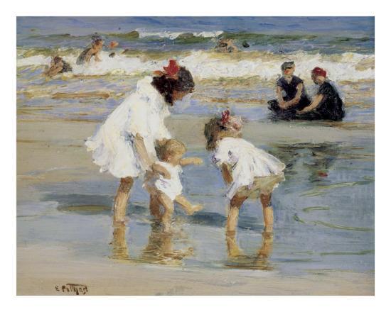 Children Playing at the Seashore-Edward Henry Potthast-Art Print
