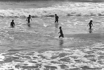 Children Playing in Sea, Somnath--Photographic Print