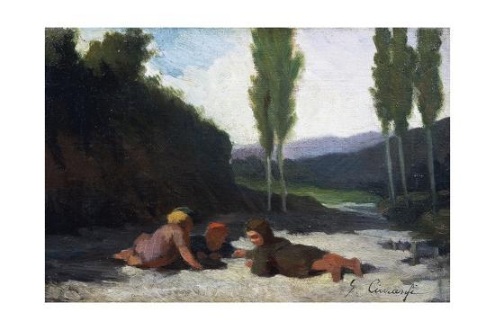 Children Playing in the River or Children Playing Outdoors, by Giuseppe Ciaranfi (1838-1908)--Giclee Print