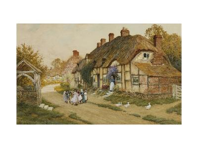 Children Playing Outside a Cottage in a Village-Arthur Claude Strachan-Giclee Print