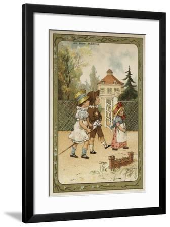 Children Playing Soldiers--Framed Giclee Print