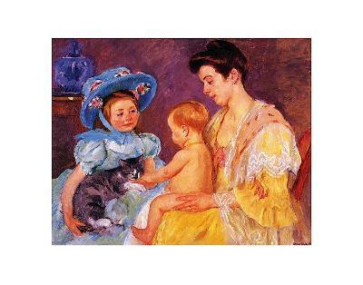 Children Playing with a Cat-Mary Cassatt-Art Print
