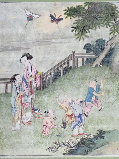 Children Playing with Kites--Giclee Print