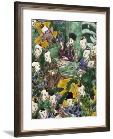 Children Playing with their Teacher, Detail of Decoration of a Porcelain Vase, China--Framed Giclee Print
