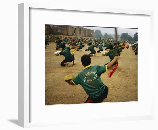 Children Practice Kung Fu in a Field at the Ta Gou Academy-xPacifica-Framed Photographic Print