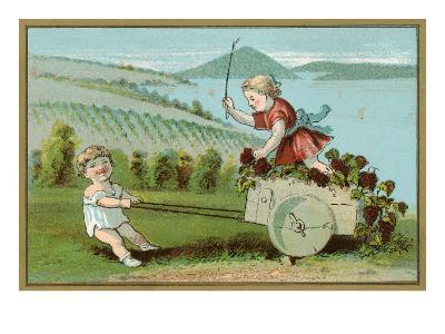 Children Pulling Wine Cart, Illustration--Art Print