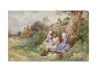 Children Reading Beside a Country Lane-Myles Birket Foster-Giclee Print