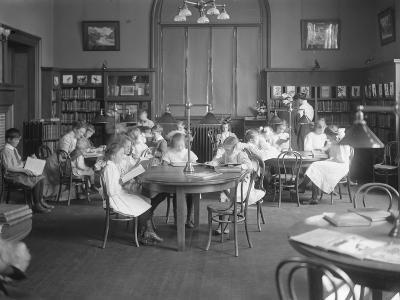 Children Reading in the Reading Room of an Unidentified Branch of the Queens Borough Public Library-William Davis Hassler-Photographic Print
