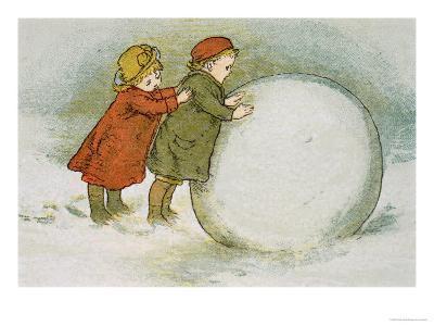 Children Rolling Snowballs-Lizzie Mack-Giclee Print