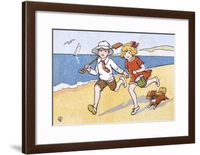 Children Run on Sand--Framed Giclee Print