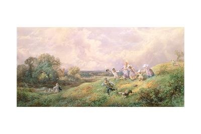 Children Running Down a Hill-Myles Birket Foster-Giclee Print