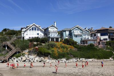 Children Running on the Beach of Capitola, California, USA-Jill Schneider-Photographic Print