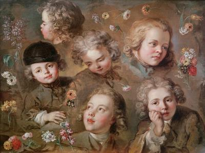 Children's Heads and Flowers-Nicolas-bernard Lepicie-Giclee Print