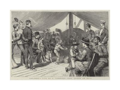 Children's Life on a Troopship, Rope Quoits on Deck-Godefroy Durand-Giclee Print