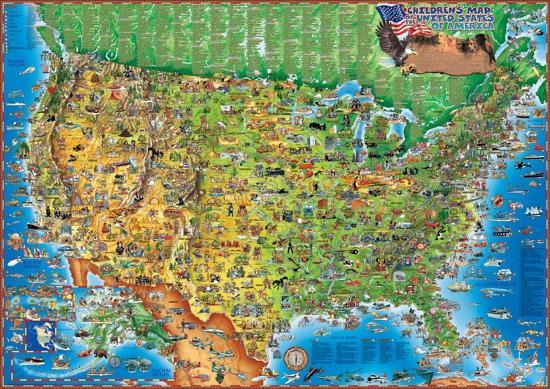 Children\'s Map of the USA, Laminated Educational Poster Laminated ...