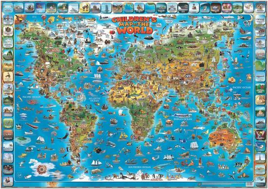 Children's Map of the World Educational Poster--Laminated Poster