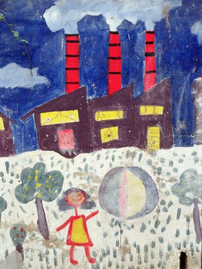 Children's Painting of Poble Sec Power Station on a Street Wall--Giclee Print