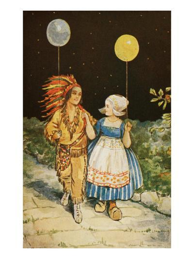 Children's Party American Indian and Dutch Girl--Giclee Print