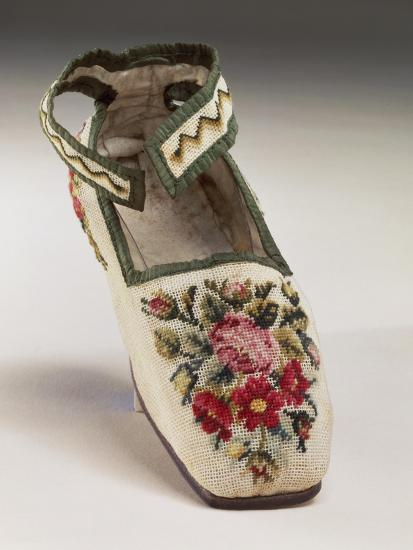 Children's Shoe, Embroidered in Silk Small Stitch on Linen, with Floral and Geometric Motif--Giclee Print