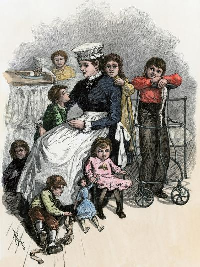 Children's Ward nurse with Her Patients at Bellevue Hospital, New York City, 1870s--Giclee Print