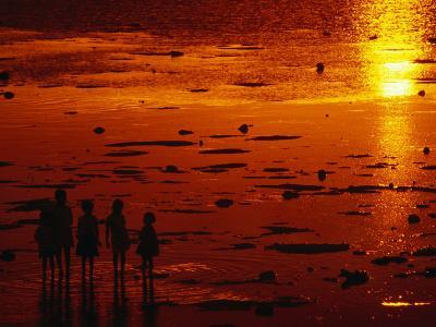 Children Silhouetted at Sunset, Ko Samui, Surat Thani, Thailand-Dallas Stribley-Photographic Print