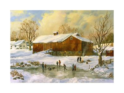 Children Skating at the Pond Behind the Barn-Jack Wemp-Giclee Print