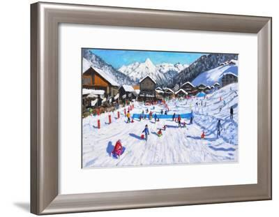 Children sledging,Les Gets,France-Andrew Macara-Framed Giclee Print
