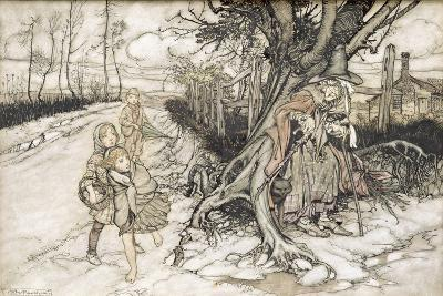 Children Startled by a Witch-Arthur Rackham-Giclee Print