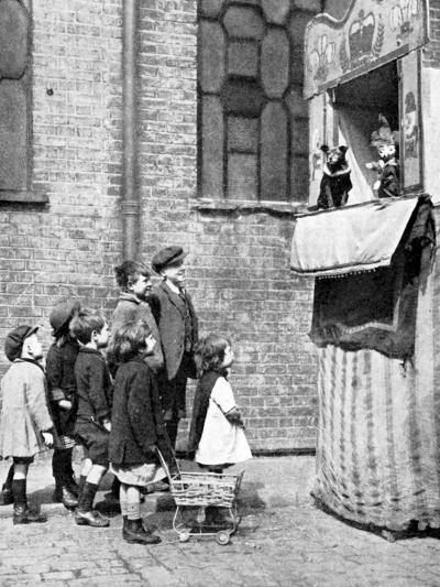 Children Watching a Punch and Judy Show in a London Street, 1936-Donald Mcleish-Giclee Print