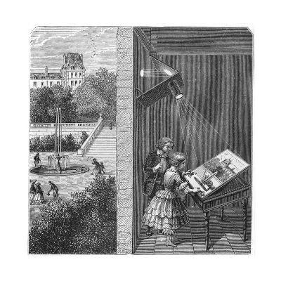 Children Watching an Outdoor Scene Through a Camera Obscura, 1887--Giclee Print