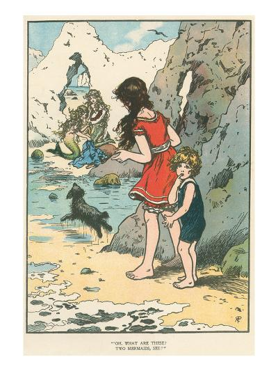 Children Watching Mermaids--Art Print