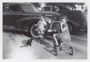 Children with Cat on Leash