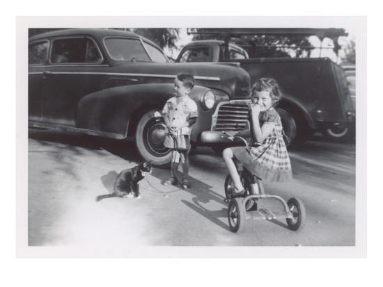 Children with Cat on Leash--Art Print